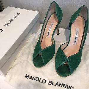 Green suede Manolo Blahnik heels